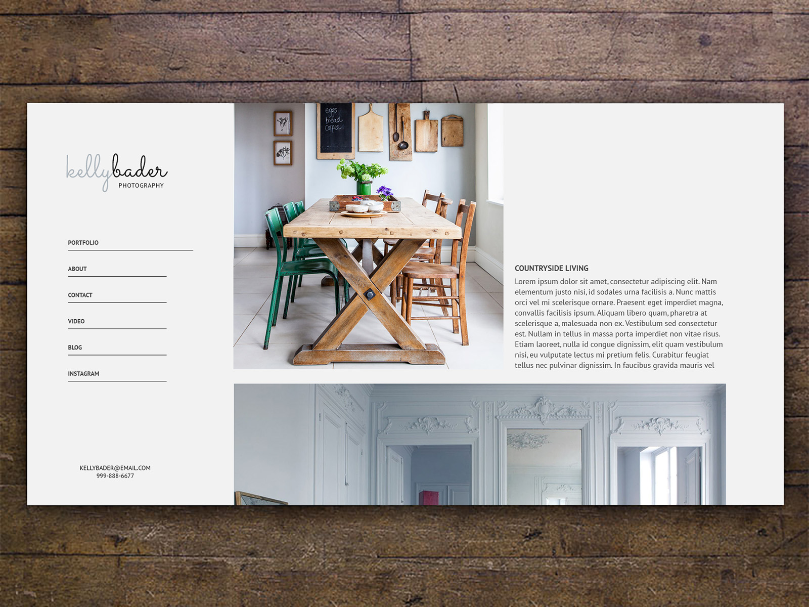 Photography portfolio with a left navigation and a collection of images in the center-right area. The portfolio image on screen is of a room with a rustic wooden table and chairs. The entire portfolio is superimposed on a wooden texture.