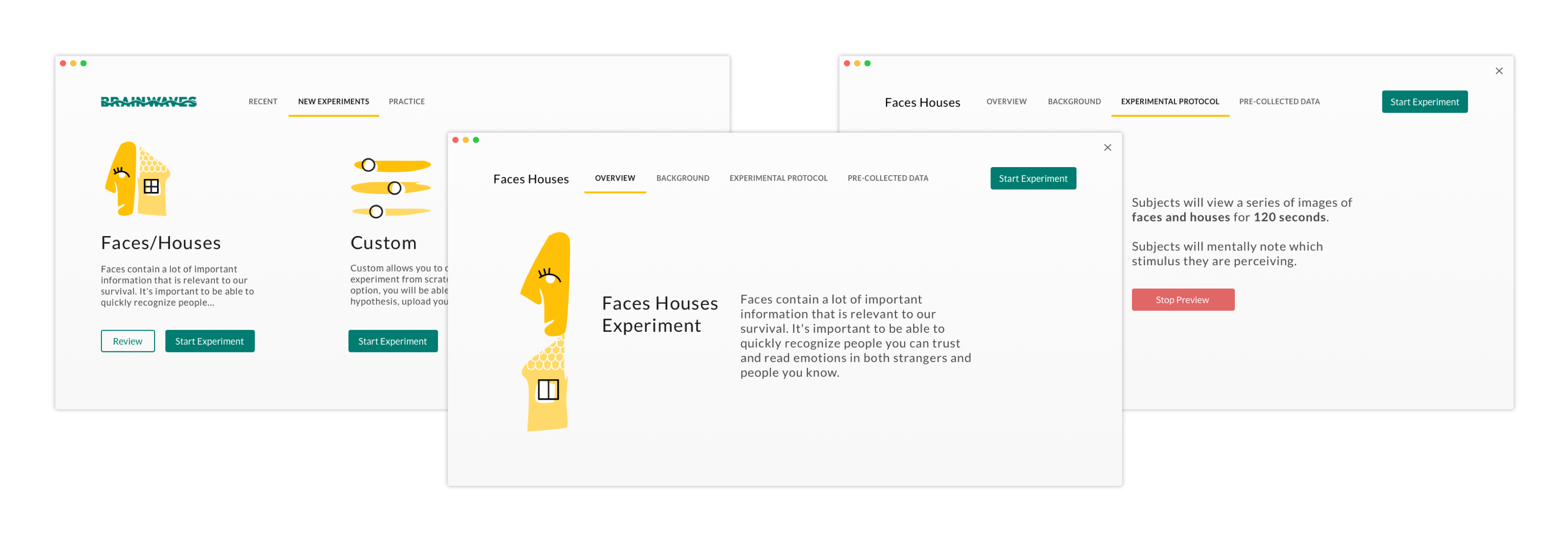 A series of high fidelity mockups of the BrainWave Application, including an Overview screen, Experiment Protocol screen, and New Experiment screen. On the collection of screens, there is an illustration of an abstract face and house and an abstract set of controls. Each screen includes a top navigation and buttons.