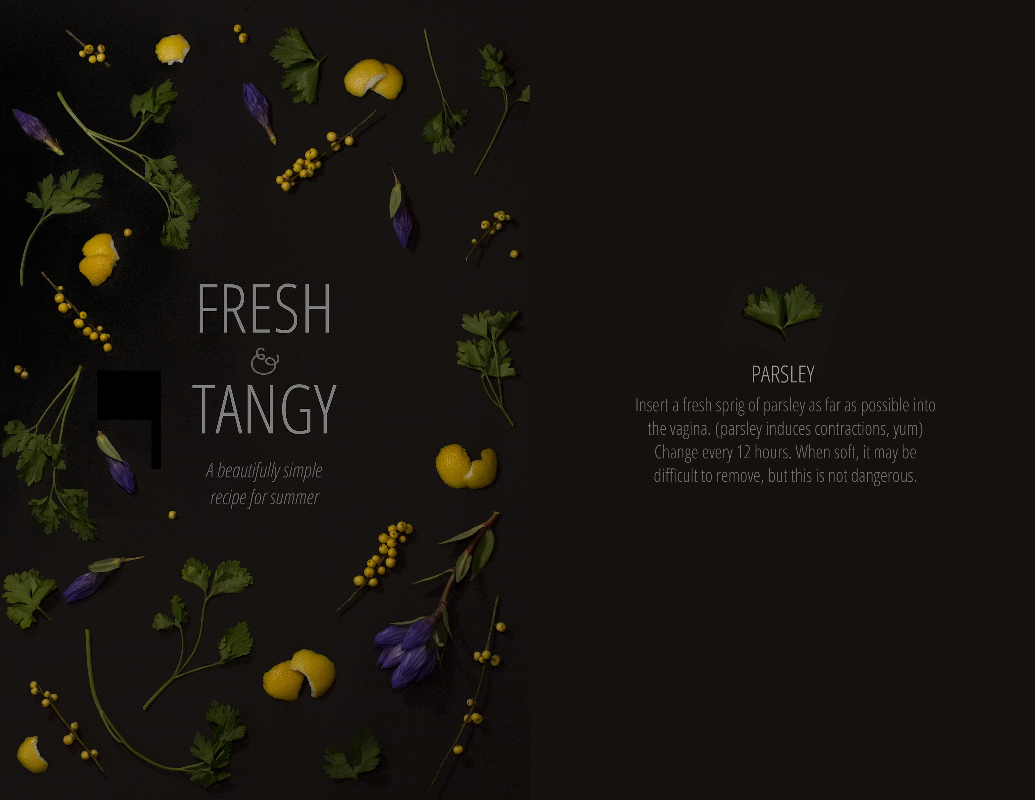 On the left is the text: Fresh & Tangy. Surrounding the text are pieces of lemon rind, parsley, purple flower buds, and yellow berries on twigs. On the right side of the spread is a single parsley leaf with text below.