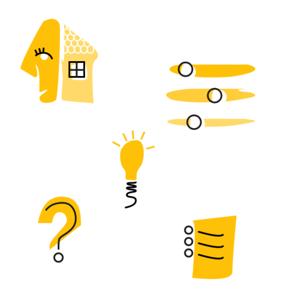 5 Illustrations, including a scene with a face and a house, a set of controls, a lightbulb, a question mark, and a document with writing.