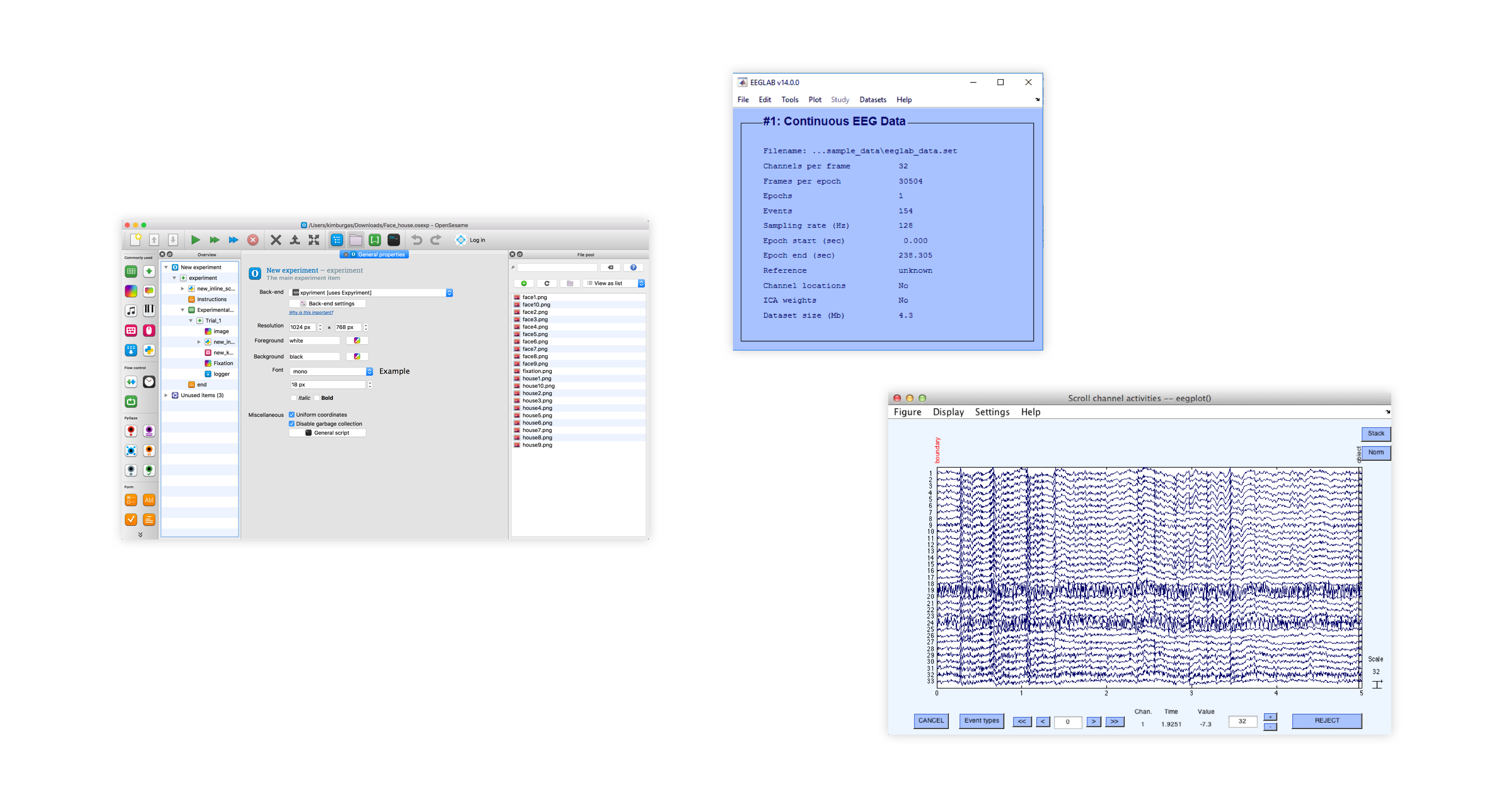 Three screenshots of software used to design and conduct EEG experiments. On the far left, a screenshot of the OpenSesame software. In the middle, a screenshot of EEG Lab and on the right, EEG plot.