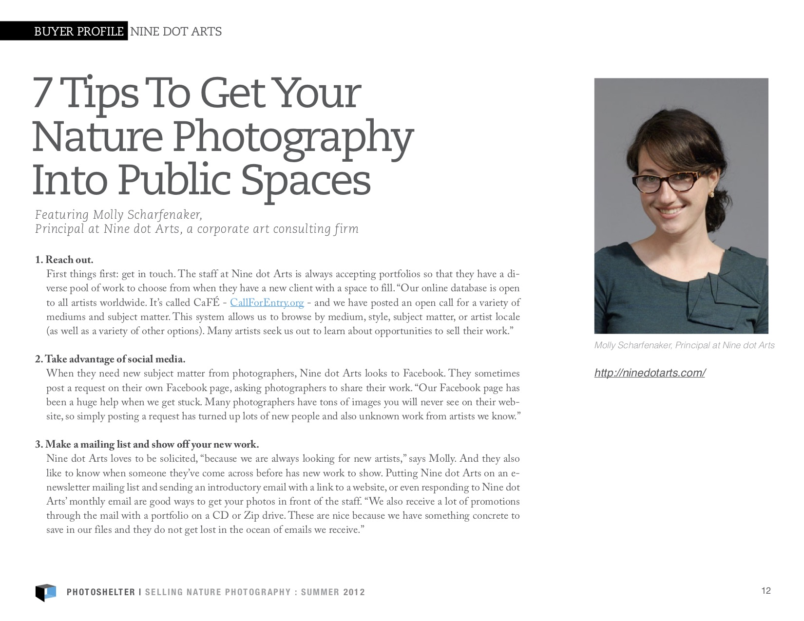 An article covering 7 tips to get your nature photography into public spaces. To the right of the article is a photo of Molly Scharfenaker.