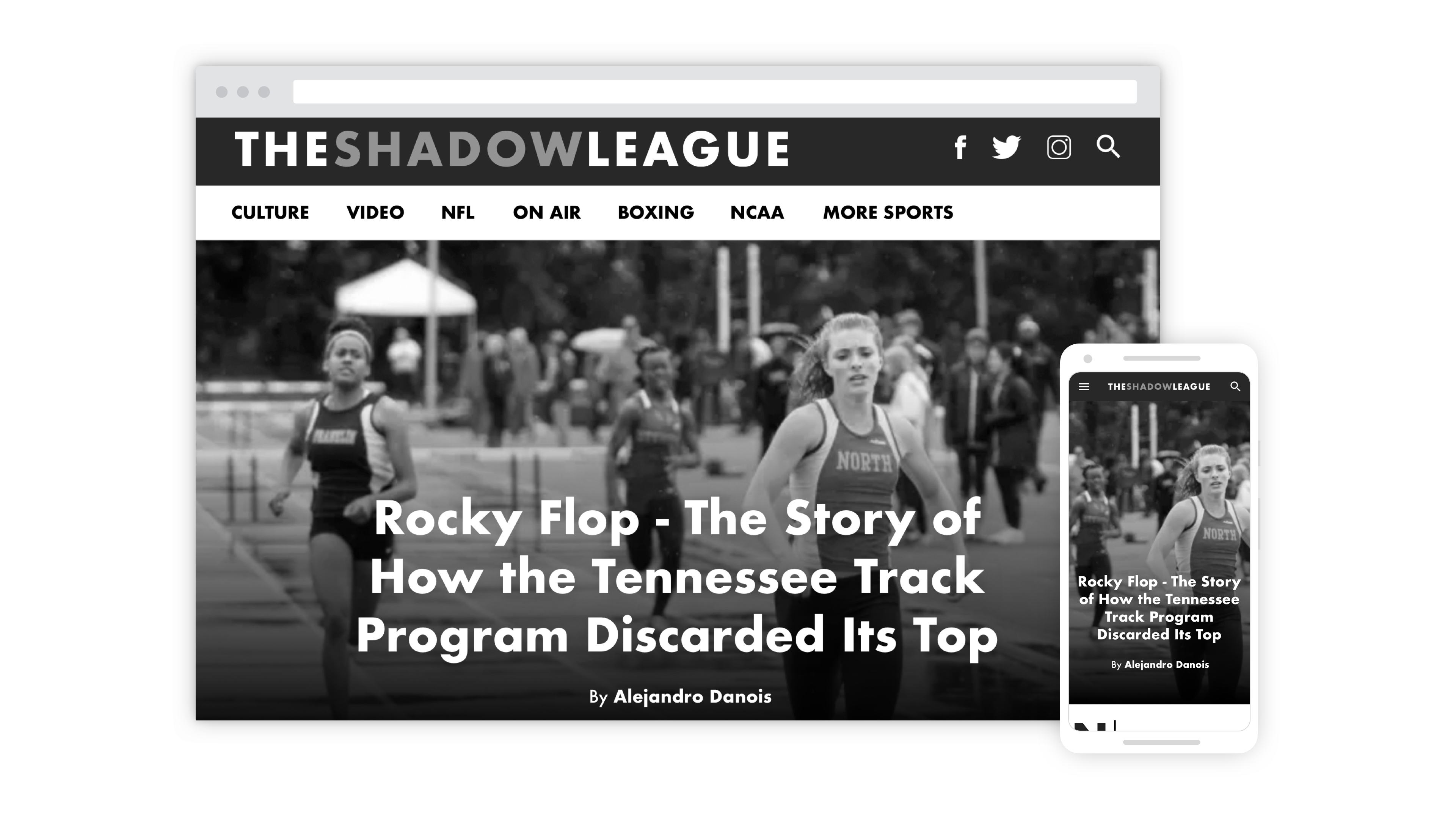 The Shadow League's longform article format on desktop and mobile.