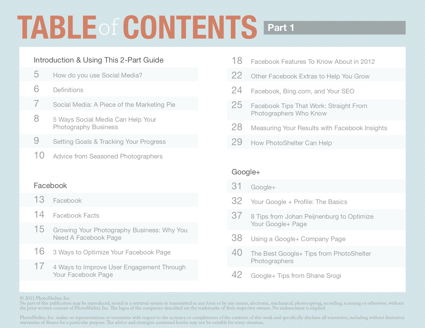 Table of Contents, broken down into sections: Introduction & Using This 2-Part Guide, Facebook and Google+.
